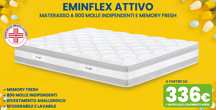 Offerta materasso 800 molle indipendenti e memory Attivo EMINFLEX